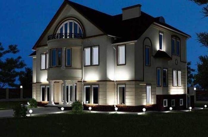 Дом, с горящими светильниками